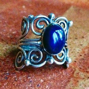 Vintage Lapis Lazuli + Sterling Silver Ring 5.5